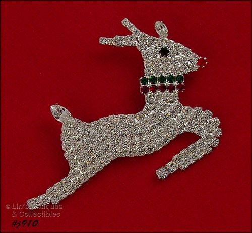 EISENBERG ICE RUDOLPH IN FLIGHT PRONG SET RHINESTONES SILVER TONE PIN