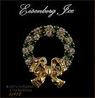 EISENBERG ICE WREATH PIN WITH PRONG SET GREEN AND CLEAR RHINESTONES