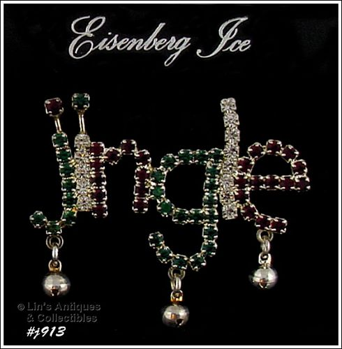 EISENBERG ICE PRONG SET RHINESTONES JINGLE WITH BELLS PIN