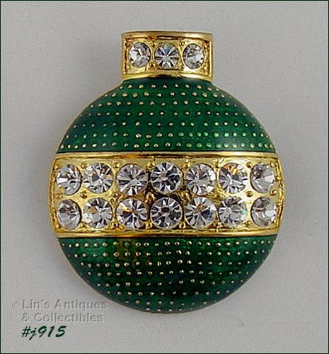 EISENBERG ICE GREEN ENAMEL AND CLEAR RHINESTONE ORNAMENT SHAPED PIN