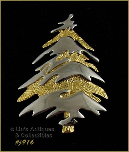 EISENBERG ICE GOLD TONE AND SILVER TONE CHRISTMAS TREE PIN
