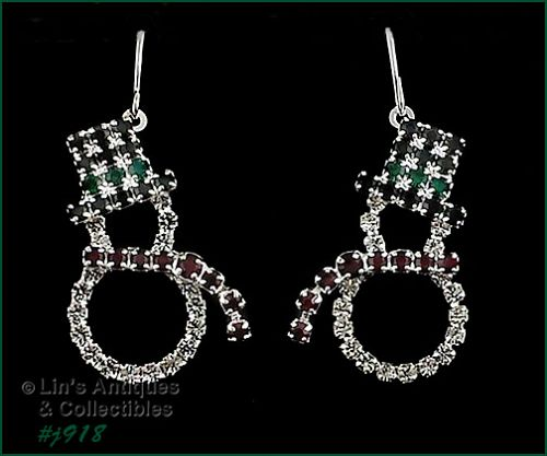 EISENBERG ICE RHINESTONE SNOWMAN SHAPED PIERCED EARRINGS 2 AVAIL.