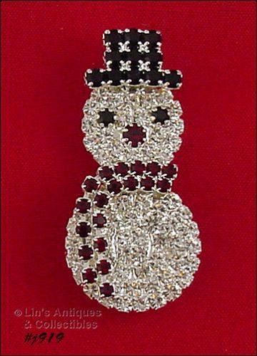EISENBERG ICE PRONG SET RHINESTONES SILVER TONE SNOWMAN PIN 2 AVAIL.