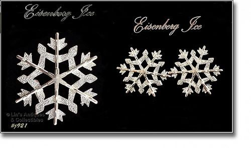 EISENBERG ICE � SNOWFLAKE PIN AND MATCHING PIERCED EARRINGS