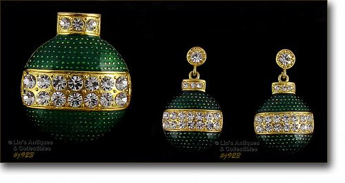 EISENBERG ICE � GREEN ORNAMENT PIN AND MATCHING PIERCED EARRINGS