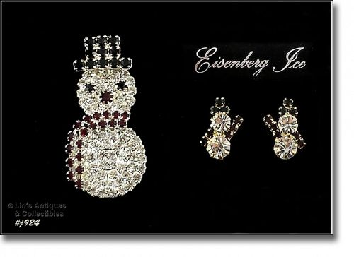 EISENBERG ICE RHINESTONE SNOWMAN PIN AND SNOWMAN PIERCED EARRINGS
