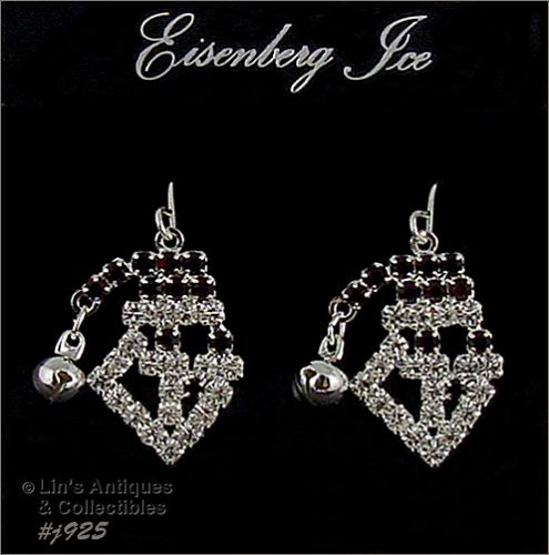 EISENBERG ICE � RHINESTONE SANTA FACE PIERCED EARRINGS
