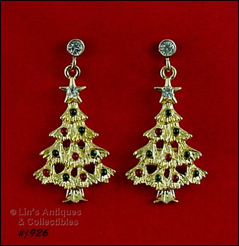 EISENBERG ICE GOLD TONE CHRISTMAS TREE DANGLE PIERCED EARRINGS
