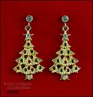 EISENBERG ICE �GOLD-TONE CHRISTMAS TREE DANGLE PIERCED EARRINGS