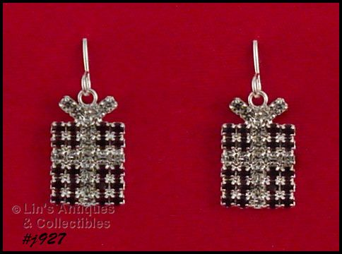 EISENBERG ICE � RHINESTONE CHRISTMAS GIFT PACKAGE PIERCED EARRINGS