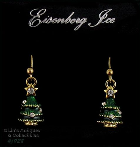 EISENBERG ICE ROUND SHAPED CHRISTMAS TREE DANGLE PIERCED EARRINGS