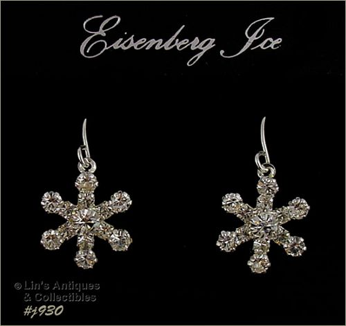 EISENBERG ICE RHINESTONE SNOWFLAKE SILVER TONE DANGLE PIERCED EARRINGS
