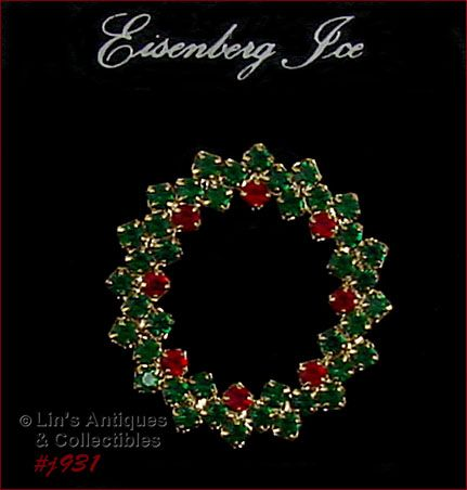 EISENBERG ICE HOLLY BERRY RHINESTONE CHRISTMAS WREATH SHAPED PIN