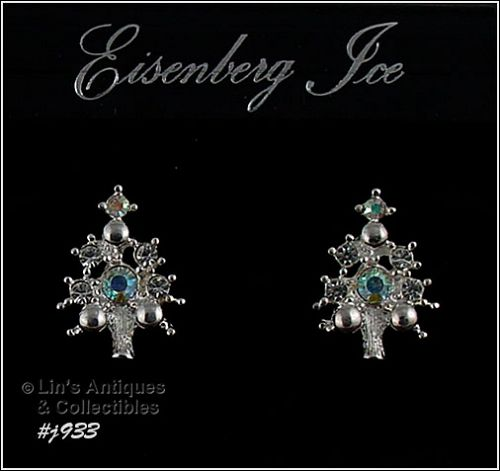 EISENBERG ICE AURORA BOREALIS RHINESTONE CHRISTMAS TREE EARRINGS
