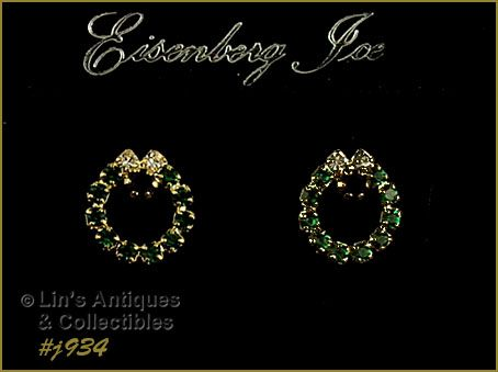 EISENBERG ICE RHINESTONE CHRISTMAS WREATH SHAPED PIERCED EARRINGS