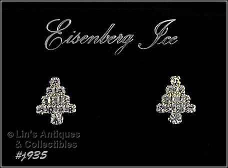 EISENBERG ICE � AURORA BOREALIS AND CLEAR RHINESTONES TREE EARRINGS
