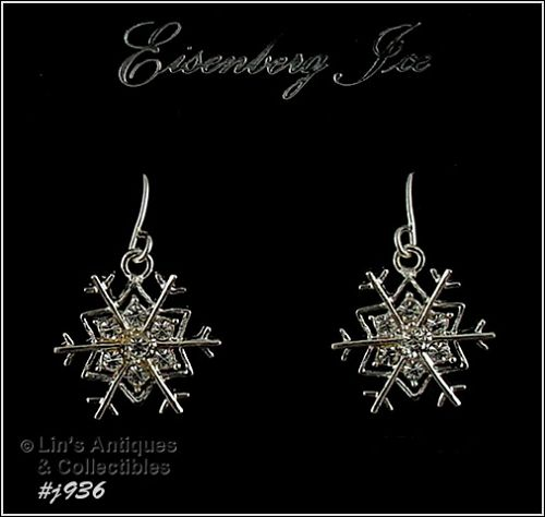EISENBERG ICE � SILVER-TONE SNOWFLAKE PIERCED EARRINGS