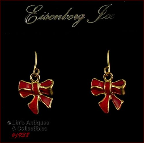 EISENBERG ICE RED ENAMEL BOW SHAPED PIERCED DANGLE EARRINGS