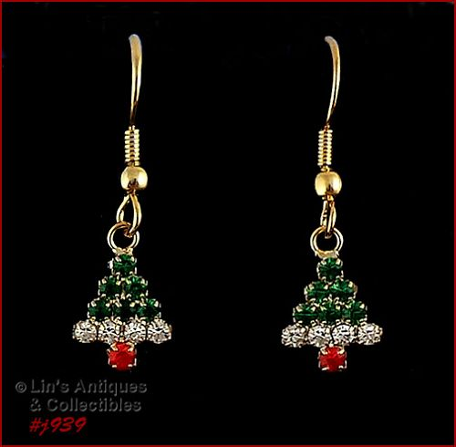 EISENBERG ICE � RHINESTONE CHRISTMAS TREE DANGLE PIERCED EARRINGS