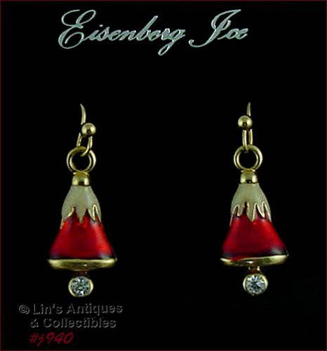 EISENBERG ICE SNOW CAPPED RED BELLS PIERCED EARRINGS