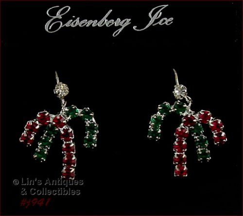 EISENBERG ICE DOUBLE CANDY CANES RHINESTONES PIERCED EARRINGS