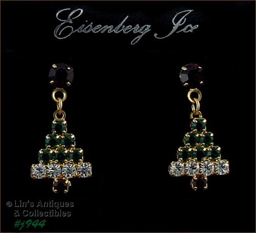 EISENBERG ICE COLORFUL CHRISTMAS TREE PIERCED EARRINGS 2 AVAILABLE