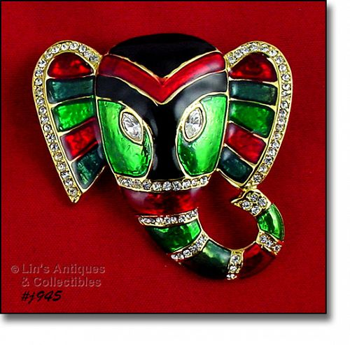 EISENBERG ICE � ENAMEL AND RHINESTONE ELEPHANT HEAD PIN (2 AVAILABLE)