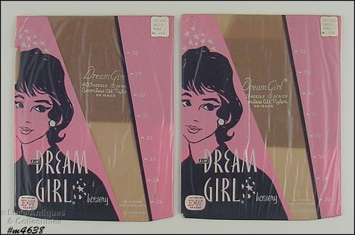 2 PAIRS VINTAGE DREAM GIRL SEAMLESS NYLONS MIP SIZE 10 ½