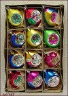 1 DOZEN VINTAGE GLASS REFLECTOR CHRISTMAS ORNAMENTS