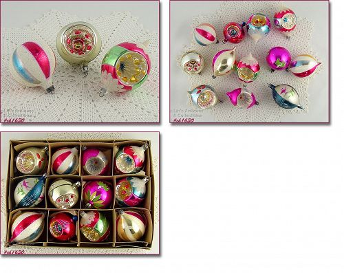 1 DOZEN ASSORTED POLAND GLASS CHRISTMAS ORNAMENTS