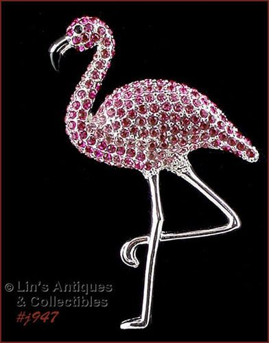 EISENBERG ICE DIFFICULT TO FIND PINK RHINESTONES FLAMINGO PIN