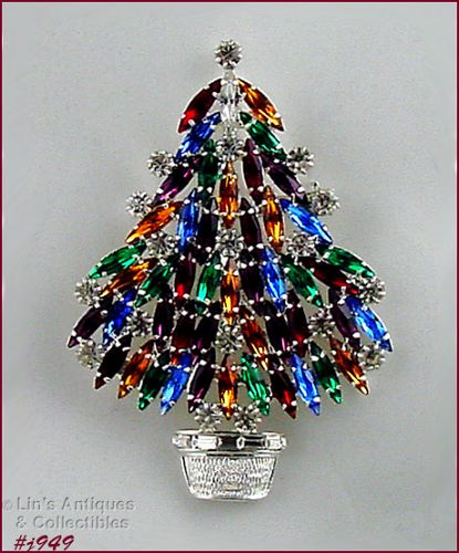 EISENBERG ICE MULTI COLOR RHINESTONE SILVER TONE CHRISTMAS TREE PIN