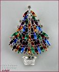 EISENBERG ICE MULTI-COLOR RHINESTONE SILVER TONE CHRISTMAS TREE PIN