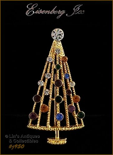 EISENBERG ICE CHRISTMAS TREE PIN MULTI COLOR RHINESTONE GOLD TONE