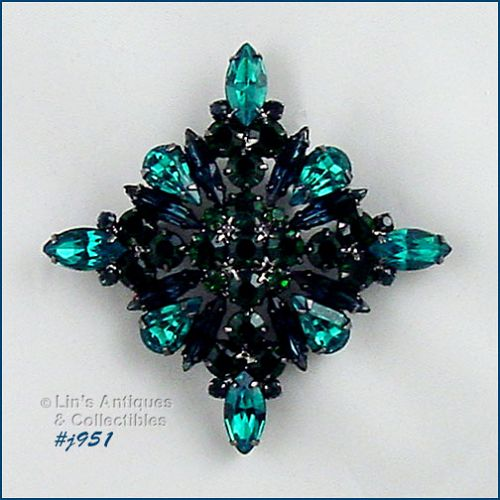 EISENBERG ICE -- SHADES OF GREEN DIAMOND SHAPED PIN