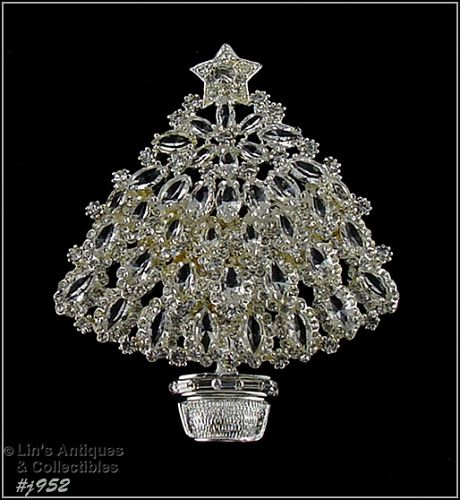 EISENBERG ICE -- CLEAR RHINESTONES SILVER-TONE CHRISTMAS TREE PIN