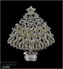 EISENBERG ICE CLEAR RHINESTONES SILVER TONE CHRISTMAS TREE PIN