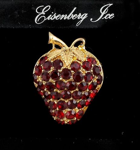 EISENBERG ICE RED RHINESTONE STRAWBERRY SHAPED GOLD TONE PIN