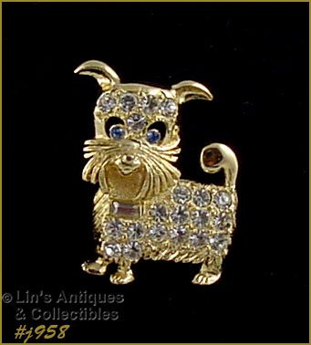 EISENBERG ICE ADORABLE GOLD TONE AND RHINESTONES DOGGIE PIN
