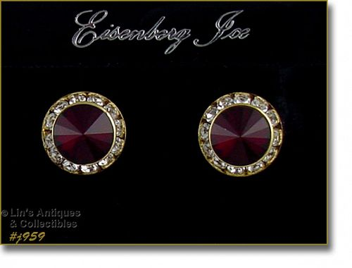 EISENBERG ICE RED AND CLEAR RHINESTONES PIERCED EARRINGS TWO AVAILABLE
