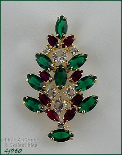 EISENBERG ICE  RED GREEN AND CLEAR RHINESTONES CHRISTMAS PIN