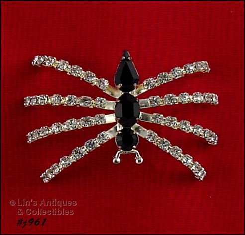 EISENBERG ICE � RHINESTONE SILVER-TONE SPIDER ON RAISED LEGS PIN