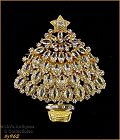 EISENBERG ICE CLEAR RHINESTONES GOLD TONE CHRISTMAS TREE PIN