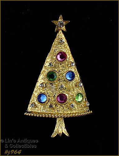 EISENBERG ICE GOLD TONE WITH PASTEL RHINESTONES CHRISTMAS TREE PIN