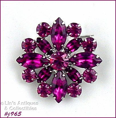 EISENBERG ICE SHADES OF PINK RHINESTONES ROUND SHAPED PIN