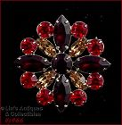 EISENBERG ICE SHADES OF FALL COLORS RHINESTONE ROUND SHAPED PIN