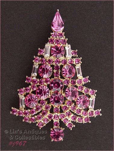 EISENBERG ICE PINK RHINESTONE CANDLE TREE CHRISTMAS PIN