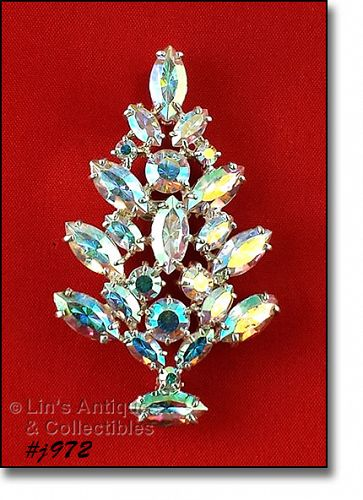 EISENBERG ICE AURORA BOREALIS RHINESTONES CHRISTMAS TREE PIN 2 AVAIL