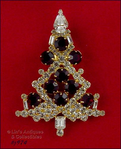 EISENBERG ICE CLEAR WITH RED RHINESTONES LARGE CANDLE TREE PIN