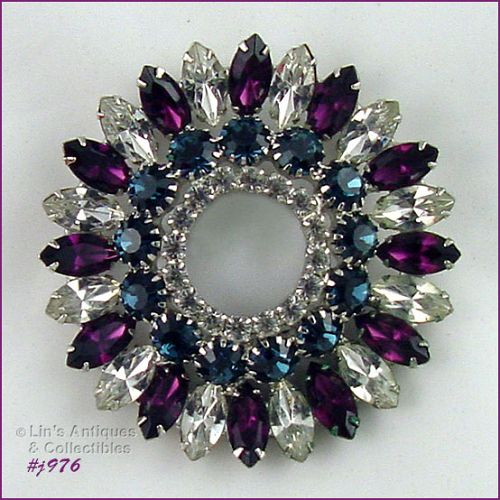 EISENBERG ICE TEAL AMETHYST AND CLEAR RHINESTONES LARGE CIRCLE PIN